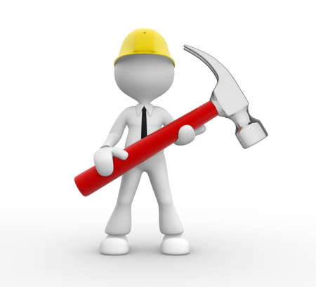 3d people - man, person with a hammer. Businessman and builder Stock Photo - 18492420