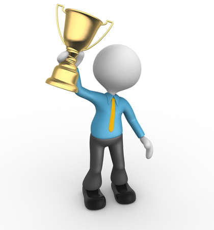 3d people - man, person winner holding a big shiny trophy. Businessman photo