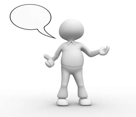 3d people - man, person with empty speech bubble Stock Photo - 18492423