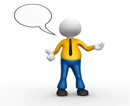 3d people - man, person with empty speech bubble Stock Photo - 18492453