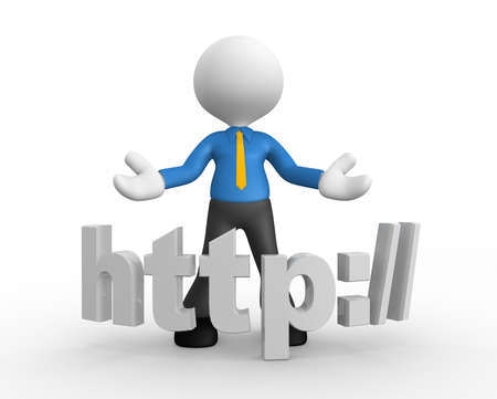 http: 3d people - man, people with a word HTTP:.