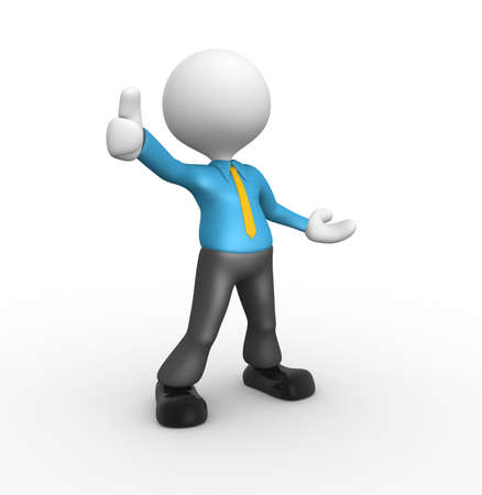 3d person: 3d people - man, person standing near to an ok icon Stock Photo
