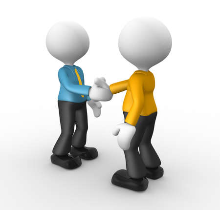 3d people - men, person shaking hands. Businessmen photo