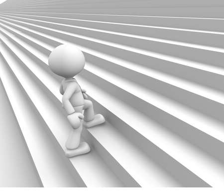 3d people - man, person climbing stairs. Stock Photo - 18492527