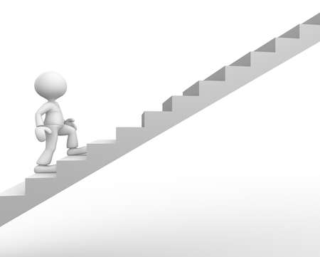 3d people - man, person climbing stairs. Stock Photo - 18492485