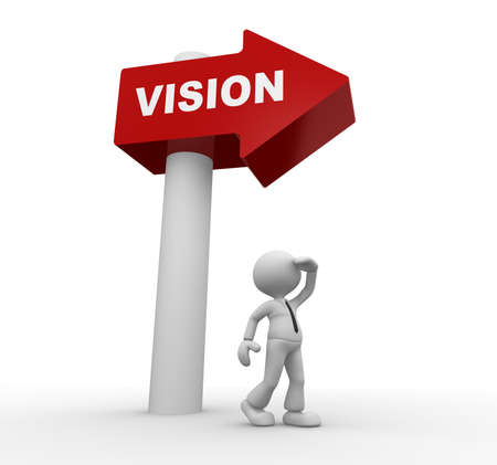 vision concept: 3d people - man, person with directional sign and word vision. Vision