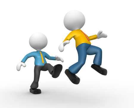 bossy: 3d people - man, person kicking in the behind the opponent.
