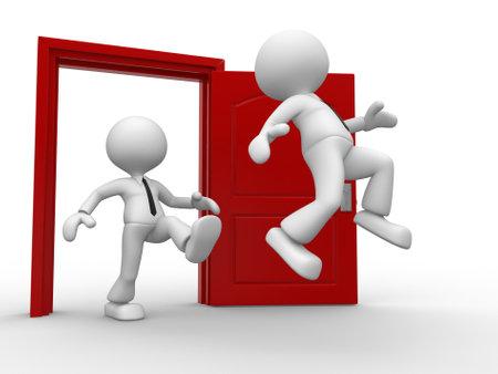 abrir puerta: 3d gente - hombre, persona patadas en el trasero del oponente y una puerta abierta