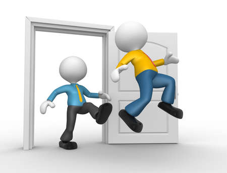 eviction: 3d people - man, person kicked out the door Stock Photo