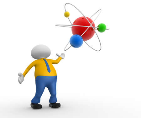 3d people - man, person with a conceptual structure of atom Stock Photo - 18494657