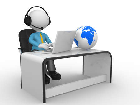 3d people - man,  person with a laptop and headphones at a office. Earth globe. photo