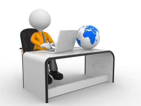 3d personnes - homme, personne avec un ordinateur portable � un bureau. Globe