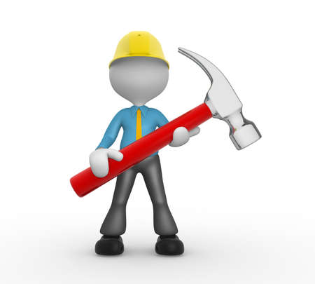 3d people - man, person with a hammer. Businessman and builder Stock Photo - 18494631