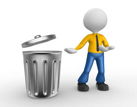 chrome man: 3d people - man, person standing next to a trash can