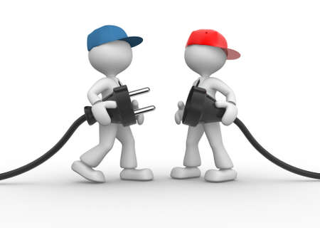 3d people - men, person connecting a cable. Electric plug Stock Photo