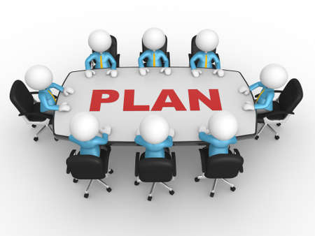 3d people - men, person at conference table. Business meeting and planning. photo