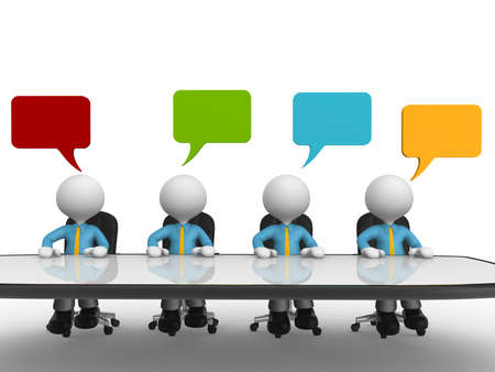 3d people - men, person at conference table with speech bubbles Stock Photo - 18528554