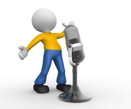 3d people - man, person with a old microphone photo