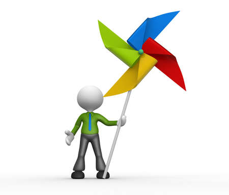 wind wheel: 3d people - man, person with a toy pinwheel. Windmill