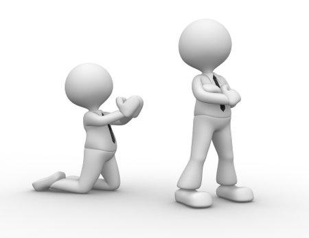 perdonar: 3d personas - hombres, persona enojada. La reconciliaci�n, por favor