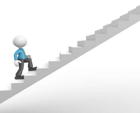 3d people - man, person climbing stairs. To success photo