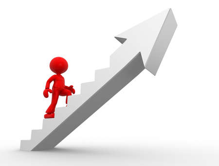 ascent: 3d people - man, person climbing stairs and an arrow . To Success. Businessman