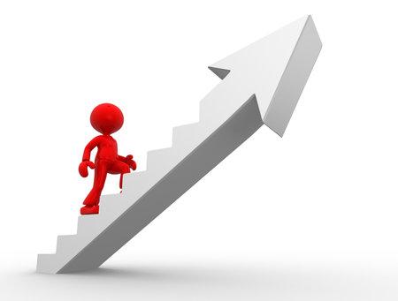 climbing stairs: Persone 3d - uomo, persona salire le scale e una freccia. Per il successo. Uomo d'affari