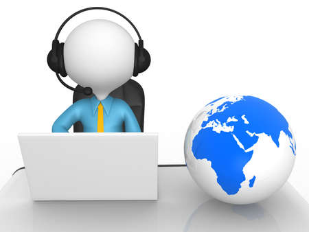 3d people - man, person with headphones and laptop at a office. Earth globe Stock Photo - 18528550