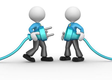 caricaturas de personas: 3d personas - hombres, persona que se conecta un cable. Enchufe eléctrico Foto de archivo