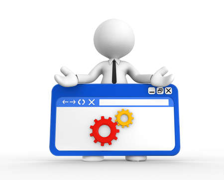 exactness: 3d people - man, people with a browser window and gear mechanism. Wheel Stock Photo