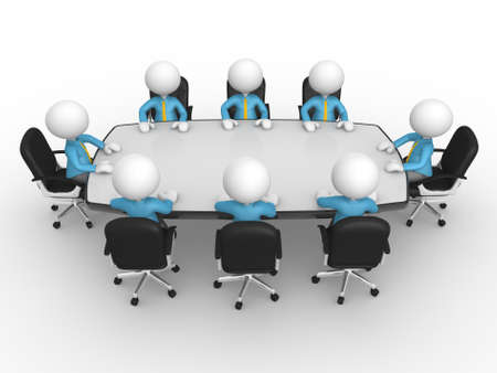 boss and employee: 3d people - men, person at conference table. Businessmen in a company meeting Stock Photo