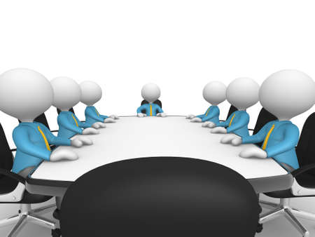 3d people - men, person at conference table. Businessmen in a company meeting Stock Photo - 18528609