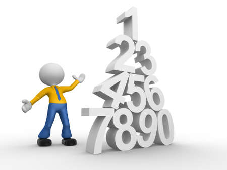 3d people - man, person and pyramid numerals. Stock Photo - 18528602