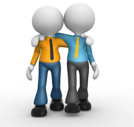 closeness: 3d people - men, person together. Friends  Stock Photo