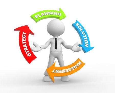 strategie: 3d Menschen - ein Mann, Person und Pfeile mit konzeptionellen Bild der Strategie
