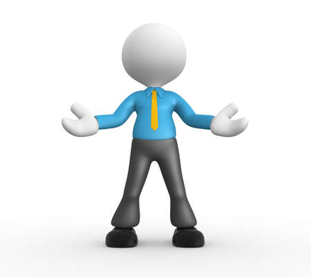 3d people - man, people - welcome gesture photo