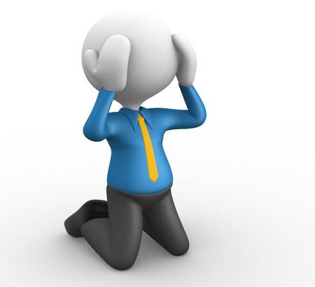 tough times: 3d people - man, person knees. Businessman