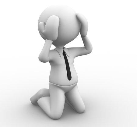 bankruptcy: 3d people - man, person knees. Businessman