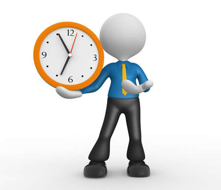 hour hand: 3d people - man, person with a clock. Businessman Stock Photo