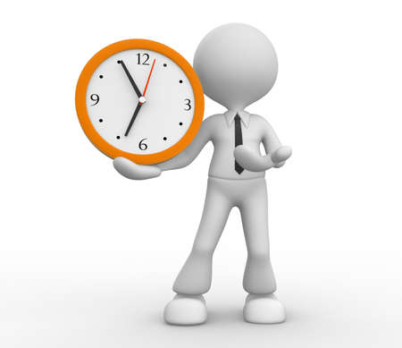 elapsed: 3d people - man, person and a big clock. Businessman