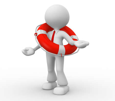 3d people - man, person with a life buoy. Businessman Stock Photo - 18562955