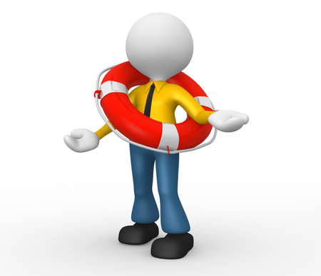 disaster recovery: 3d people - man, person with a life buoy. Businessman