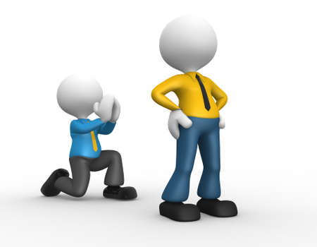 disagree: 3d people - man, person knees. Begging for forgiveness. Forgive me Stock Photo