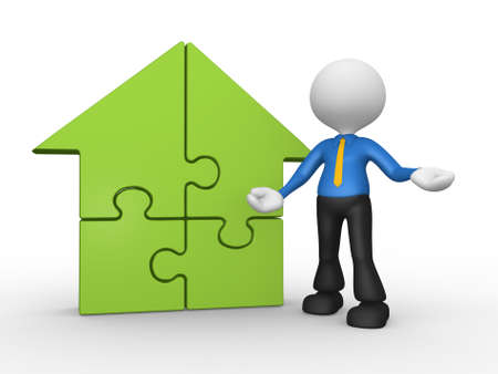 supported: 3d people - man, person supported by a house pieces of puzzle. jigsaw Stock Photo