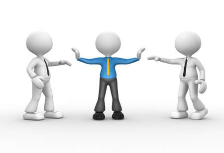 3d people - man, person talking. Businessman separated.