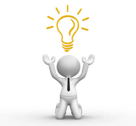 metal light bulb icon: 3d people - man, person with a light bulb. Energy efficiency