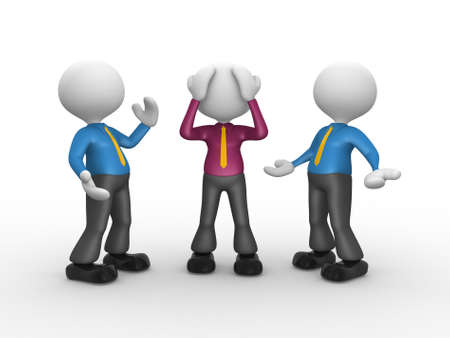unsatisfied: 3d people - men, person talking with one worried Stock Photo