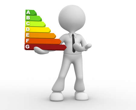 energy ranking: 3d people - man, person and a energy chart  Energy efficiency concept. Stock Photo
