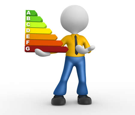 3d people - man, person and a energy chart with clipping path. Energy efficiency concept. Stock Photo - 18652826