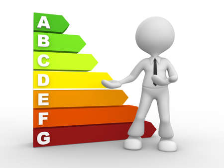 energy ranking: 3d people - man, person and a energy chart with clipping path. Energy efficiency concept. Stock Photo